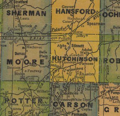 Phillips Blackhawks Hutchinson County Map c 1930